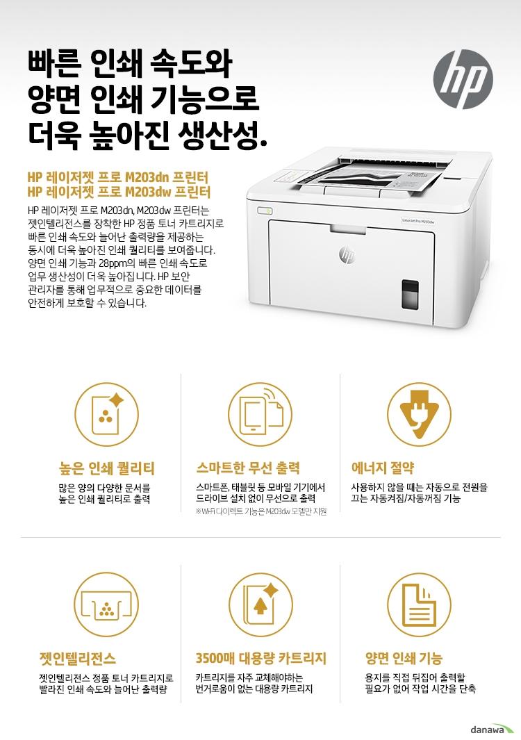 빠른 인쇄 속도와 양면 인쇄 기능으로 더욱 높아진 생산성. HP 레이저젯 프로 M203dn 프린터 HP 레이저젯 프로 M203dw 프린터 HP 레이저젯 프로 M203dn, M203dw 프린터는 젯인텔리전스를 장착한 HP 정품 토너 카트리지로 빠른 인쇄 속도와 늘어난 출력량을 제공하는 동시에 더욱 높아진 인쇄 퀄리티를 보여줍니다. 양면 인쇄 기능과 28ppm의 빠른 인쇄 속도로 업무 생산성이 더욱 높아집니다. HP 보안 관리자를 통해 업무적으로 중요한 데이터를 안전하게 보호할 수 있습니다. 높은 인쇄 퀄리티 많은 양의 다양한 문서를 높은 인쇄 퀄리티로 출력 스마트한 무선 출력 스마트폰, 태블릿 등 모바일 기기에서 드라이브 설치 없이 무선으로 출력 Wi-Fi 다이렉트 기능은 M203dw 모델만 지원 에너지 절약 사용하지 않을 때는 자동으로 전원을 끄는 자동켜짐/자동꺼짐 기능 젯인텔리전스 젯인텔리전스 정품 토너 카트리지로 빨라진 인쇄 속도와 늘어난 출력량 3500매 대용량 카트리지 카트리지를 자주 교체해야하는 번거로움이 없는 대용량 카트리지 양면 인쇄 기능 용지를 직접 뒤집어 출력할 필요가 없어 작업 시간을 단축