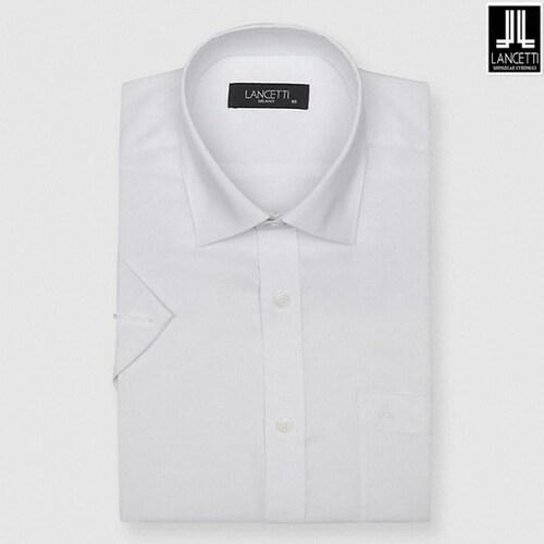 란체티  마이크로 체크 일반핏 반소매 셔츠 LQM8829WH_이미지