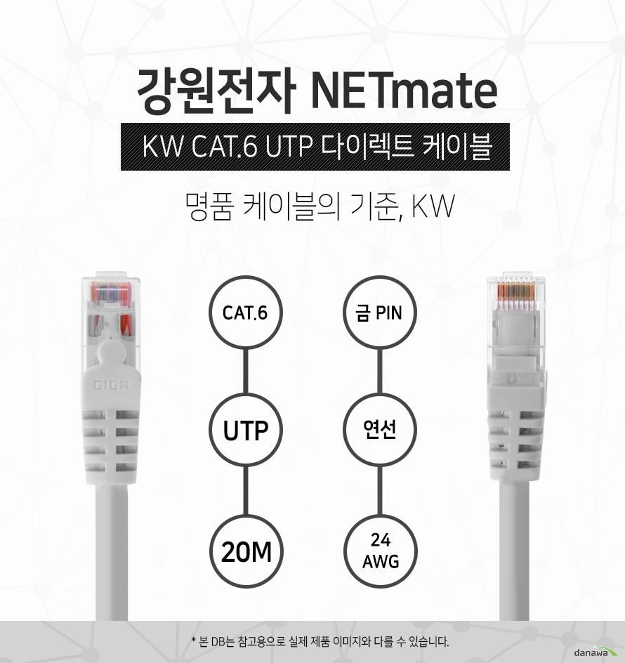 강원전자 NETMATE            KW CAT 6 UTP 다이렉트 케이블             명품 케이블의 기준 KW                                    CAT 6            UTP         20M            금핀            연선            24 AWG                        본 디비는 참고용으로 실제 제품 이미지와 다를 수 있습니다.