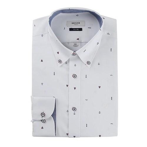 에스제이듀코 브로이어블루 체크 버튼다운 슬림 셔츠 ED7SM52LS950EWH_이미지