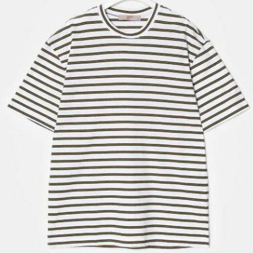 에잇세컨즈 남성 화이트 멀티 스트라이프 티셔츠 269442C311_이미지