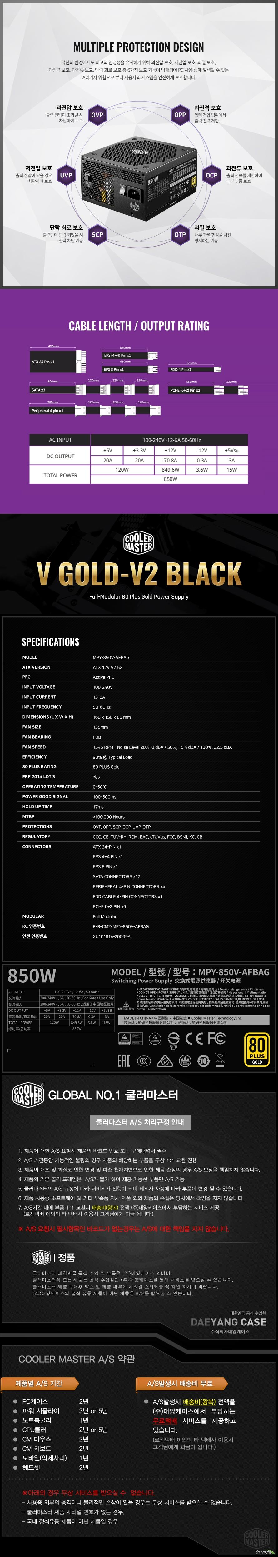 쿨러마스터 GOLD V850 V2 BLACK FULL MODULAR
