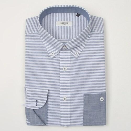 에스제이듀코 브로이어블루 스트라이프 슬림 긴소매 셔츠 ED7SM51LS319EBU_이미지