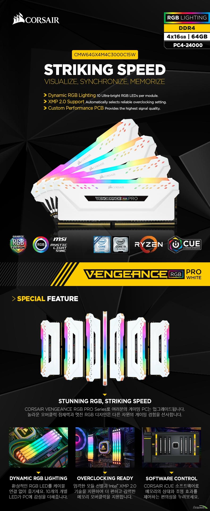 CORSAIR  DDR4 64G PC4-24000 CL15 VENGEANCE PRO RGB WHITE (16Gx4)