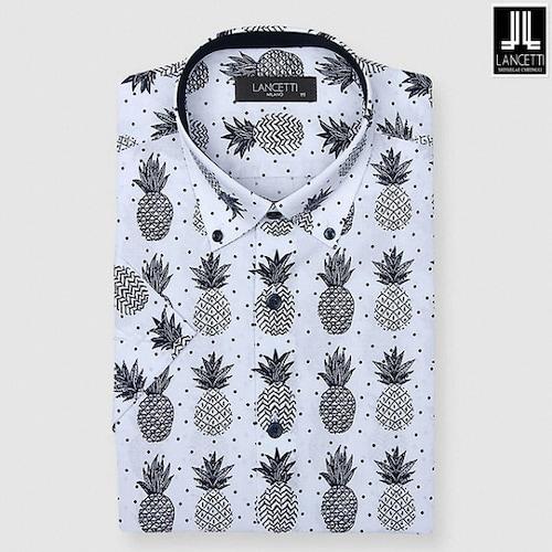 란체티  화이트 파인애플 프린트 일반핏 반소매 셔츠 LQM8859WH_이미지