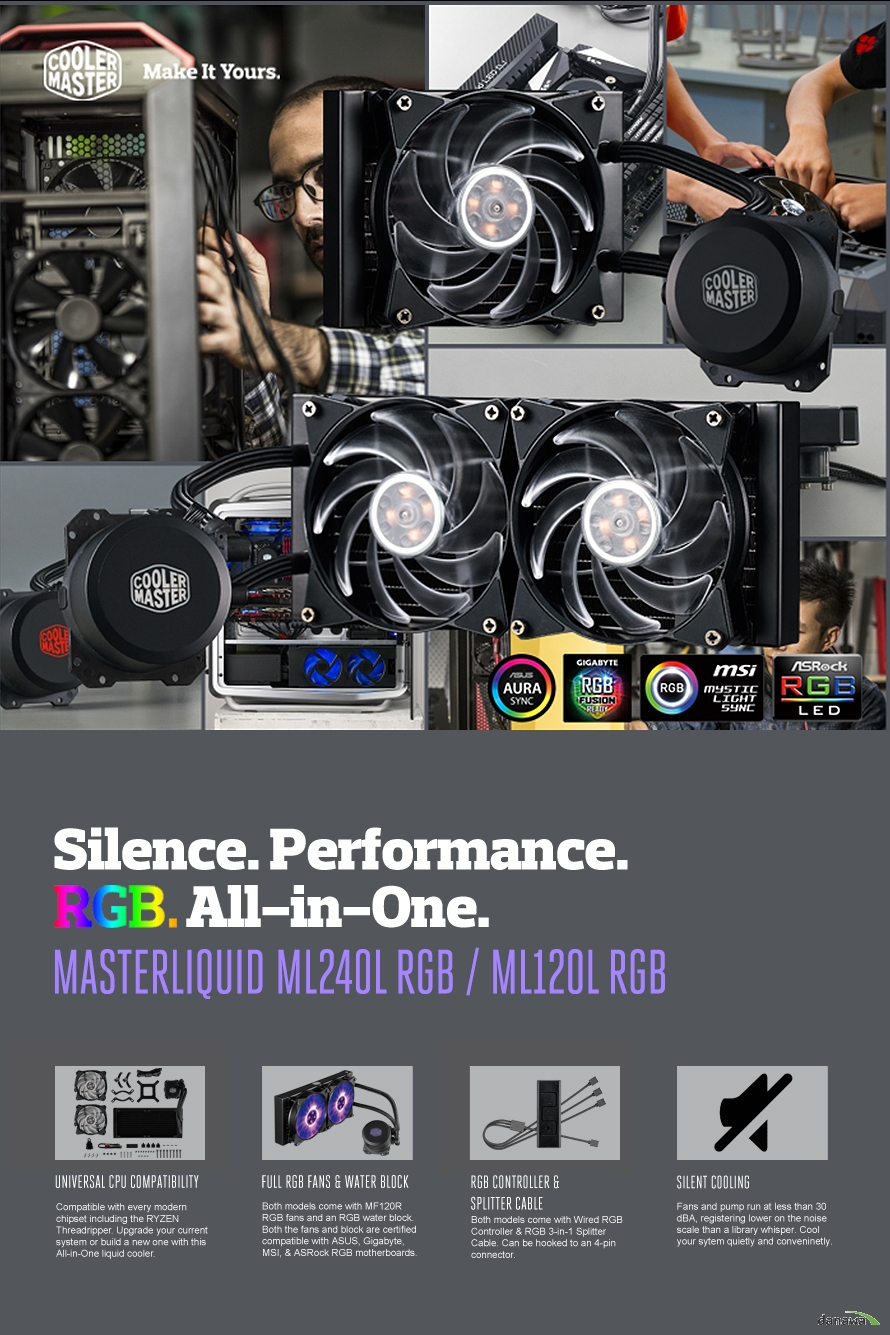 UNIVERSAL CPU COMPATIBILITYFULL RGB FANS WATER BLOCKRGB CONTROLLERSPLITTER CABLESILENT COOLING