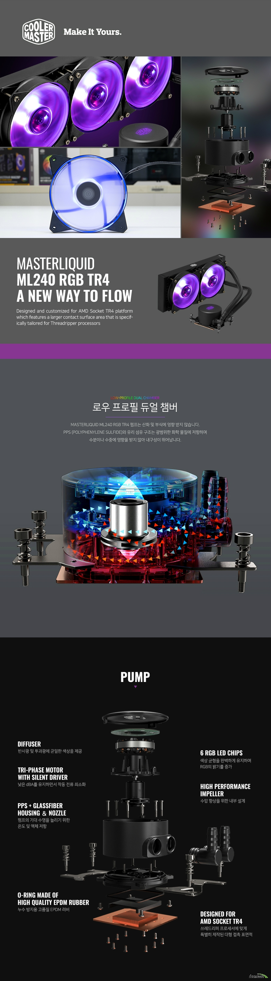 쿨러마스터  MasterLiquid ML240 RGB TR4 EDITION