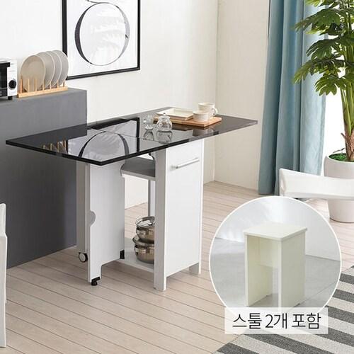 유캐슬 유씨엠 코코레인 하이그로시 접이식 확장형 식탁세트 600 (스툴2개)_이미지