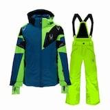 스파이더  리더 아동 스키자켓+ 포스 팬츠 세트 235008+235030 코발트+형광그린_이미지