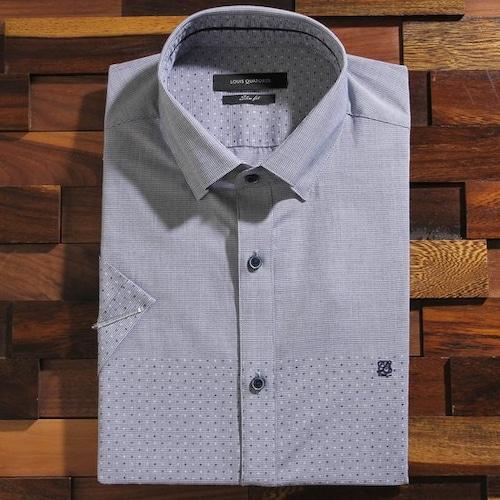 루이까또즈  잔체크 그라데이션패턴 반소매 슬림핏 셔츠 Q6027C_이미지