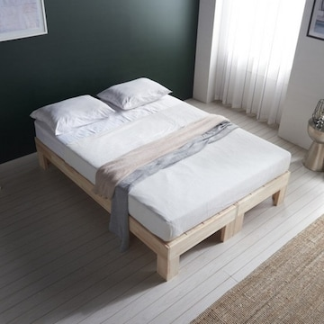 블리스데코 편백나무 평상형 침대 Q (매트별도)_이미지