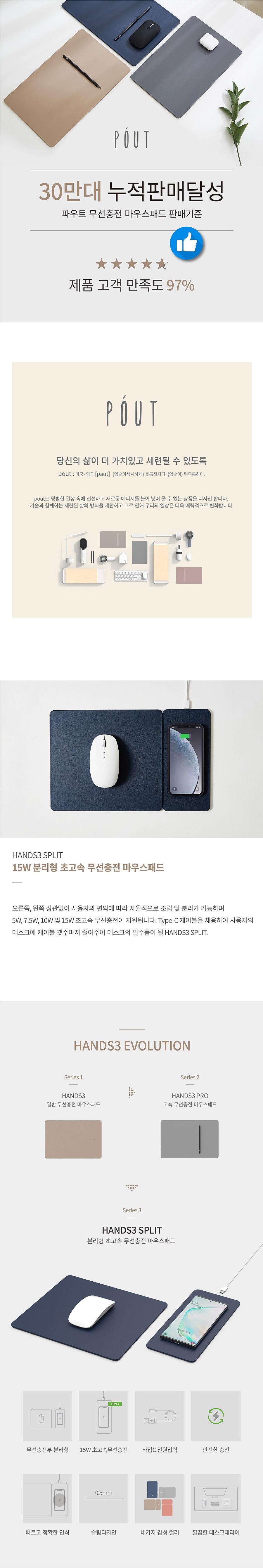 브로스앤컴퍼니 파우트 HANDS3 SPLIT 초고속무선충전 마우스패드 (로즈베이지)