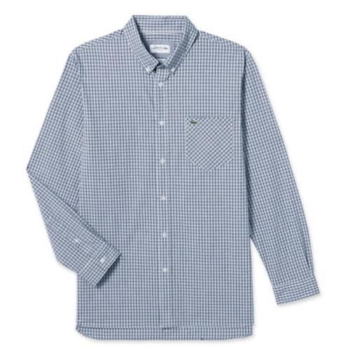 동일드방레 라코스테 남성 포플린 스트레치 슬림 체크 셔츠 CH7501-18A166_이미지