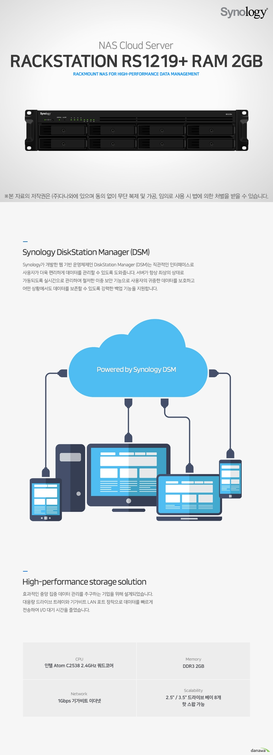Synology  RS1219+ RAM 2GB(하드미포함)
