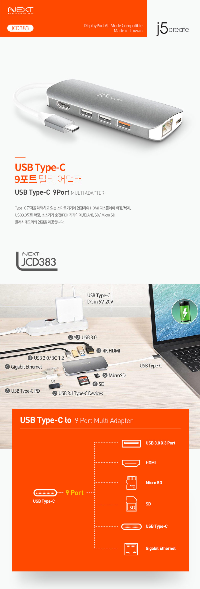 j5create  USB Type C 멀티 어댑터 (JCD383)