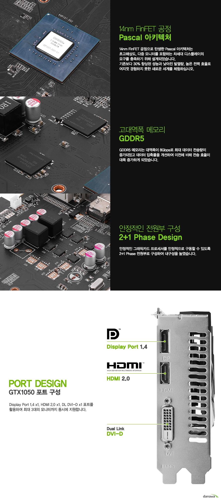 디스플레이 포트 1.4 1개    HDMI 2.0 포트 1개     듀얼링크 DVD D 포트 1개를 지원하여     최대 3대의 모니터까지 동시에 지원합니다.