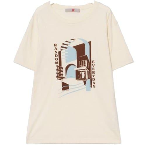 에잇세컨즈 아이보리 프린팅 반소매 티셔츠 169842JY10_이미지