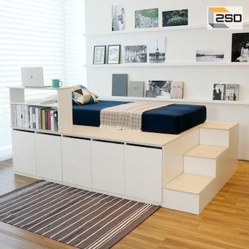 스스디 평상형 수납 침대+계단 SS(매트별도)