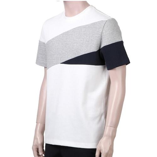 신성통상 지오지아 라운드 사선 배색 티셔츠 AAX2TR1105AWT_이미지