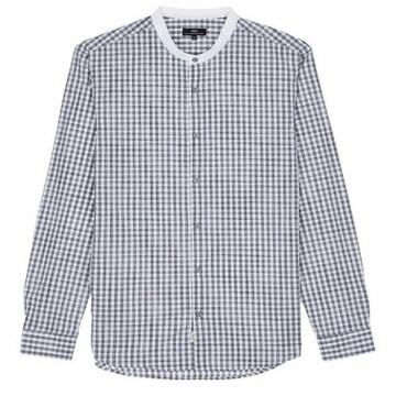 TNGT 화이트 체크 면 긴팔 캐주얼 셔츠