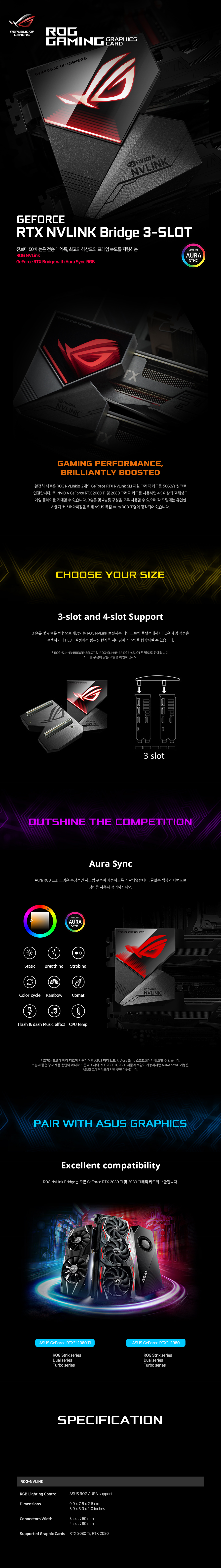 ASUS ROG STRIX NV링크 브릿지 3-Slot