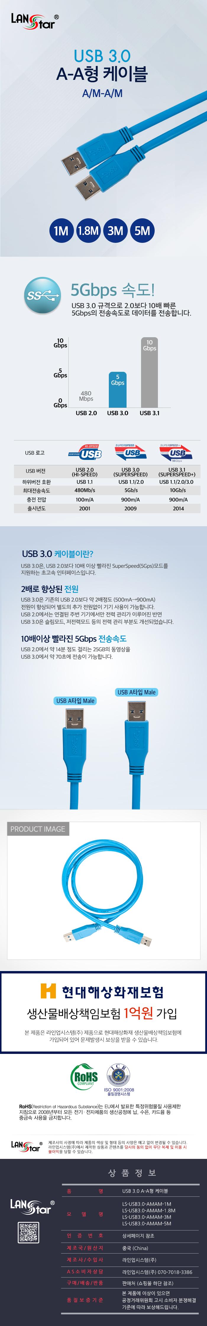 라인업시스템 LANSTAR USB 3.0 A-A형 케이블(1.8m, LS-USB3.0-AMAM-1.8M)