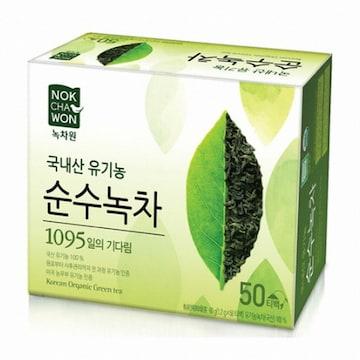 녹차원  국내산 유기농 순수녹차 50T (1개)