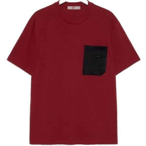 에잇세컨즈 남성 레드 코튼 포켓 디테일 반소매 티셔츠 219742AYB6_이미지