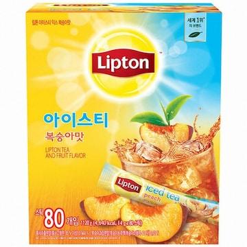 유니레버 립톤 아이스티 믹스 복숭아맛 80T(1개)