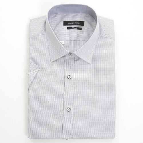루이까또즈  그레이 도트 핀체크 슬림핏 반팔 셔츠 Q6E593_이미지