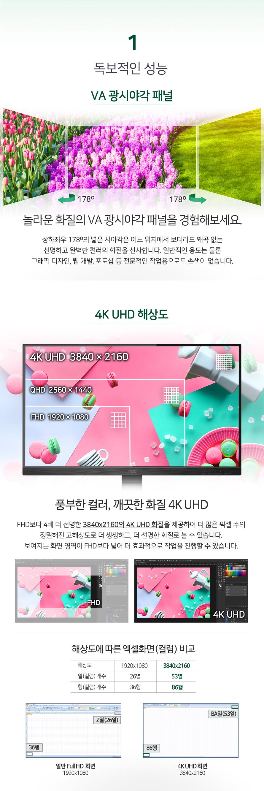 알파스캔 AOC U32P2 4K UHD 프리싱크 높낮이 무결점