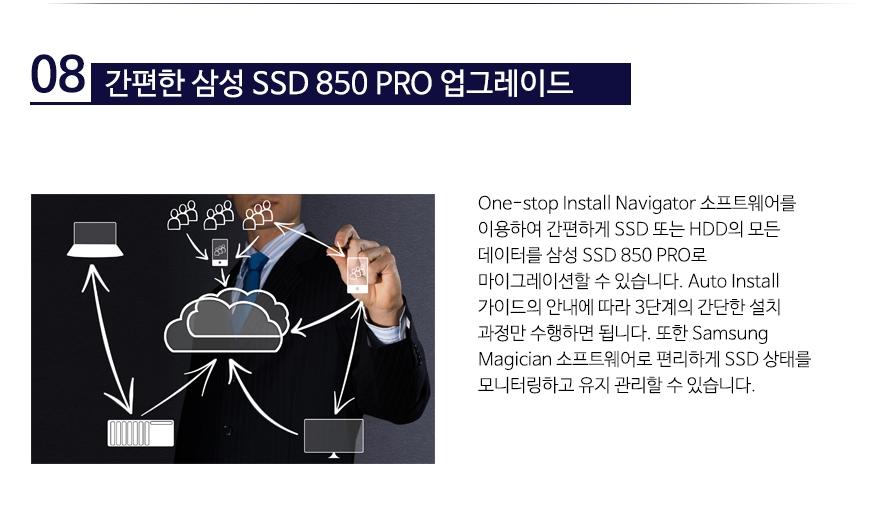 간편한 삼성 SSD 850 PRO 업그레이드One-stop Install Navigator 소프트웨어를 이용하여 간편하게 SSD 또는 HDD의 모든 데이터를 삼성 SSD 850 PRO로 마이그레이션할 수 있습니다. Auto Install 가이드의 안내에 따라 3단계의 간단한 설치 과정만 수행하면 됩니다. 또한 Samsung Magician 소프트웨어로 편리하게 SSD 상태를 모니터링하고 유지 관리할 수 있습니다.