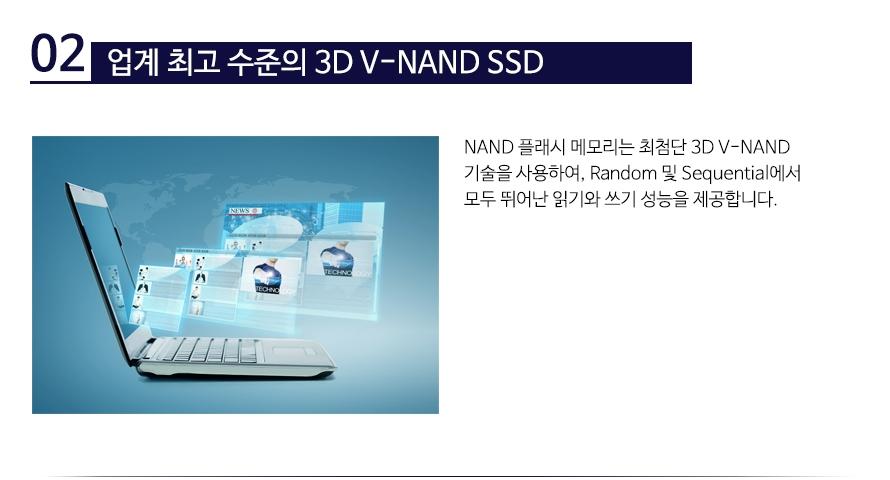 업계 최고 수준의 3D V-NAND SSDNAND 플래시 메모리는 최첨단 3D V-NAND 기술을 사용하여, Random 및 Sequential에서 모두 뛰어난 읽기와 쓰기 성능을 제공합니다.