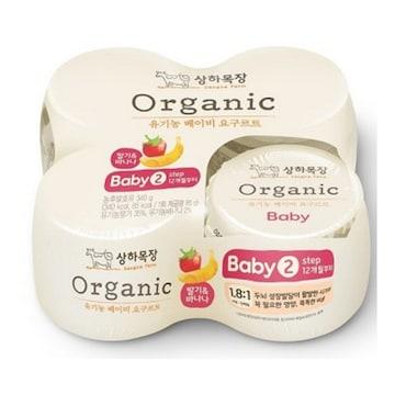 매일유업 상하목장 유기농 베이비 요구르트 2단계 딸기바나나 85g (4개)