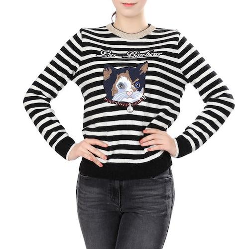보끄레머천다이징 올리브데올리브 고양이 스트라이프 울 니트 OK6WP8350_이미지