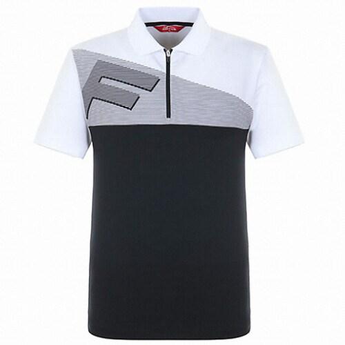 팬텀 사선 스트라이프 반집업 반팔 티셔츠 21182TO017_WH_이미지