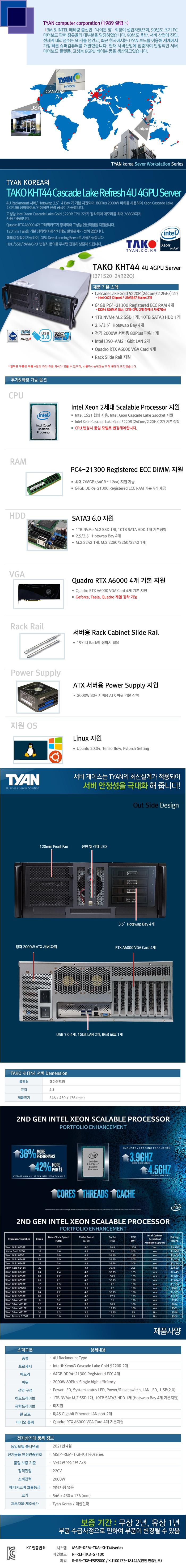 TYAN TAKO-KHT44-(B71S20-24R22Q)-RTX A6000 4GPU (256GB, M2 1TB + 6TB)