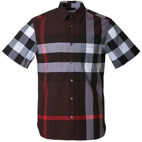 버버리 남성 쇼트 슬리브 체크 스트레치 코튼 셔츠 8011407 A1032_이미지