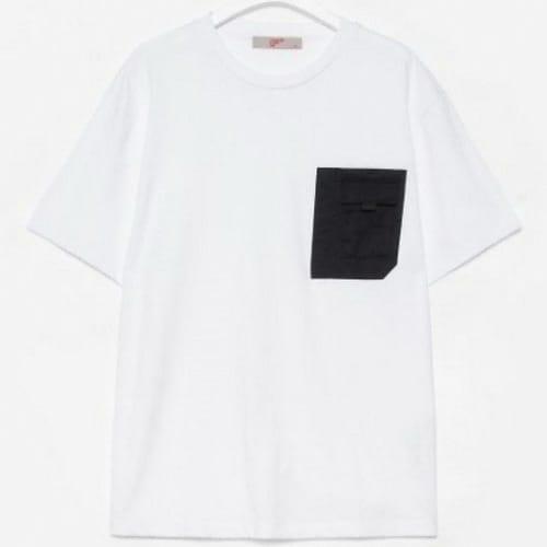 에잇세컨즈 남성 화이트 코튼 포켓 디테일 반소매 티셔츠 219742AYB1_이미지
