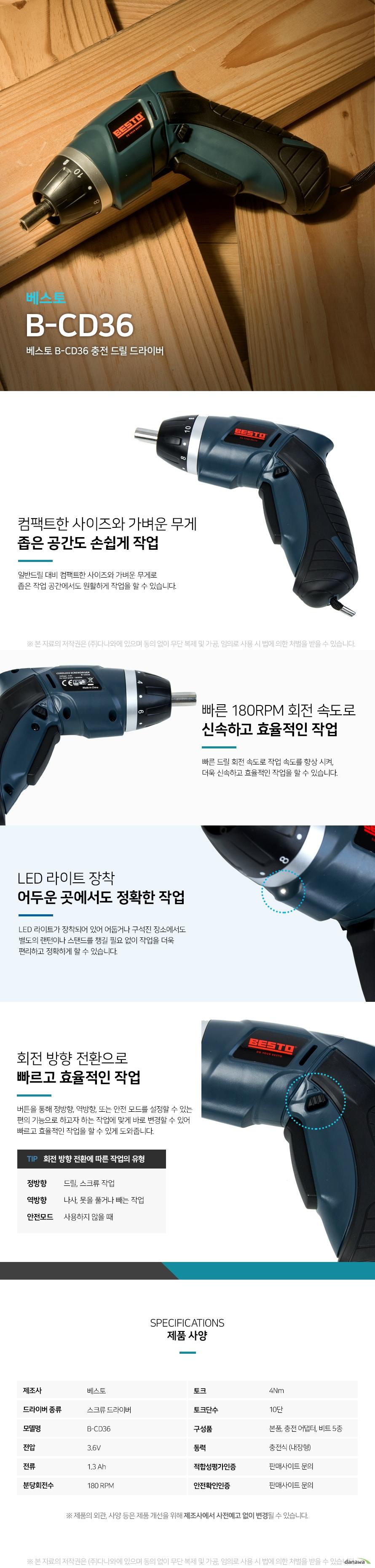 베스토 충전드릴 드라이버 컴팩트한 사이즈와 가벼운 무게 좁은 공간도 손쉽게 작업 일반드릴 대비 컴팩트한 사이즈와 가벼운 무게로 좁은 작업 공간에서도 원활하게 작업을 할 수 있습니다.  빠른 회전속도로 신속하고 효율적인 작업 빠른 드릴 회전 속도로 작업속도를 향상시켜  더욱 신속하고 효율적인 작업을 할 수 있습니다.  LED 라이트 장착 어두운 곳에서도 정확한 작업 LED 라이트가 장착되어 있어 어둡거나 구석진 장소에서도 별도의 랜턴이나 스탠드를 챙길 필요 없이 작업을 더욱 편리하고 정확하게 할 수 있습니다.  회전방향 전환으로 빠르고 효육적인 작업  버튼을 통해 정방향, 역방향 또는 안전모드를 설정할 수 있는 편의기능으로 하고자 하는 작업에 맞게 바로 변경할 수 있어 빠르고 효율적인 작업을 할 수 있게 도와줍니다.  회전방향 전환에 따른 작업의 유형 정방향 드릴, 스크류 작업 역방향 나사, 못을 풀거나 빼는 작업 안전모드 사용하지 않을 때  스크류드라이버 가정이나 일상생활에서 가장 많이 쓰이는 전동드라이버인 스크류 드라이버는 대부분  크기가 작고 가벼우며, 드릴로는 들어가지 않는 작은 나사와 피스를 조이고 풀 때 사용합니다.  PC나 DIY 가구 소품 등을 조립하거나 소형 가전의 간단한 수리 용도로 주로 사용합니다.    간단한 나사, 피스를 조이고 풀때 사용 소형가전의 간단한 수리 및 조립 시 사용    그 외 전동드릴 드라이버의 종류 일반드릴 드릴드라이버 드릴의 회전력을 이용하여 목재, 얇은 석재 등 연한 재질에 구멍을 뚫는 드릴 기능과 피스를 조이거나 푸는 드라이버 기능을 함께 사용하는 공구로, 셀프 인테리어, DIY 가구 조립에서 사용합니다. 해머드릴 망치로 때리는 듯한 왕복 타격과 강한 회전력을 이용하여 콘크리트, 철 등을 뚫을 때와 벽, 바닥을 파쇄 또는 철거할 때 사용합니다. 인테리어, 공사현장 등 주로 전문 작업 용도로 많이 쓰입니다. 로터리해머드릴 망치로 때리는 듯한 왕복 타격과 강한 회전력을 이용하여 콘크리트, 철 등을 뚫을 때와 벽, 바닥을 파쇄 또는 철거할 때 사용합니다. 인테리어, 공사현장 등 주로 전문 작업 용도로 많이 쓰입니다.   임팩트드라이버 육각으로 된 드릴, 비트를 장착해서 많은 수의 나사 또는 너트를 빠르고 강하게 조이거나 풀 때 사용합니다. 판넬, 전기배선 작업,  인테리어 등 주로 전문 작업 용도로 많이 쓰입니다.  임팩트렌치 임팩소켓, 복스소켓을 장착해서 많은 수의 나사 또는 너트를 빠르고 강하게 조이거나 풀 때 사용합니다. 건설 현장, 자동차 정비 등 주로 전문 작업 용도로 많이 쓰입니다.