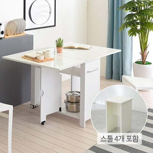 유캐슬 유씨엠 코코레인 하이그로시 접이식 확장형 식탁세트 800 (스툴4개)_이미지