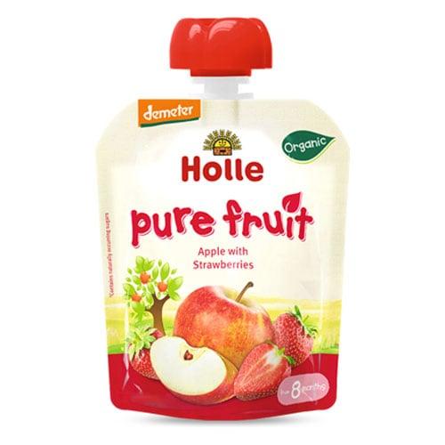 HOLLE 홀레 유기농 과일퓨레 사과 딸기 90g (1개)_이미지