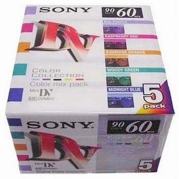 SONY 6mm 칼라 60분 3팩 5DVM60RX2 5개 DV테이프_이미지