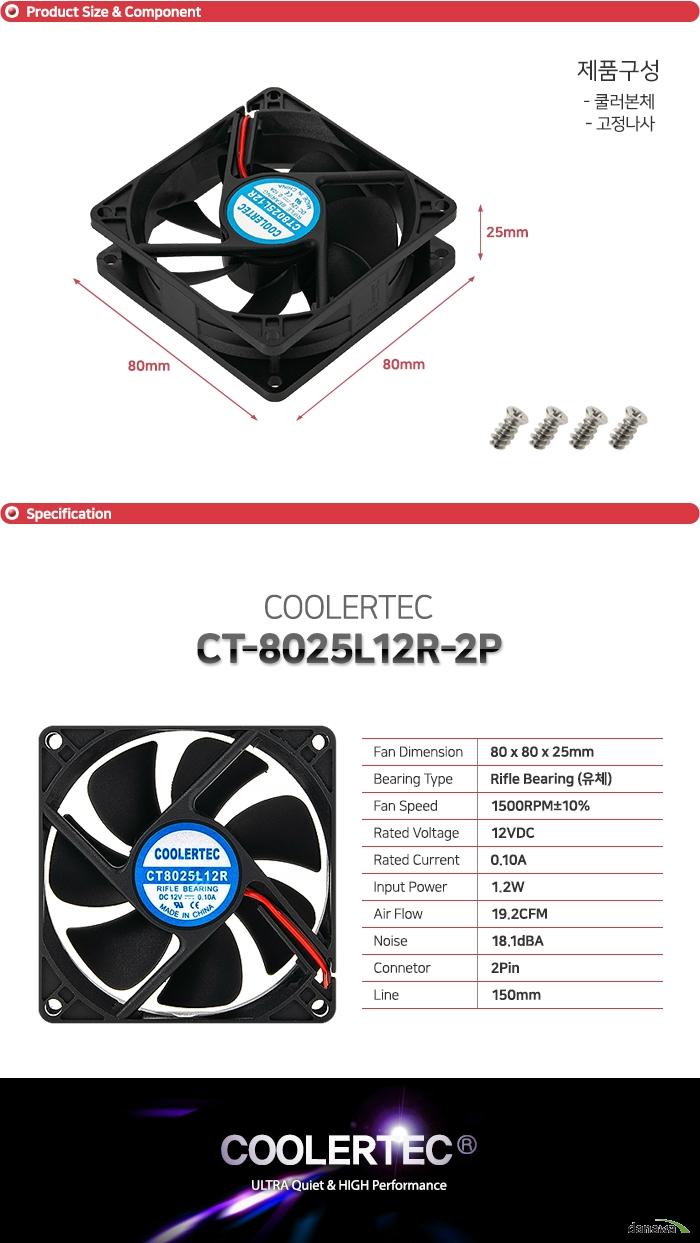 COOLERTEC CT-8025L12R-2P