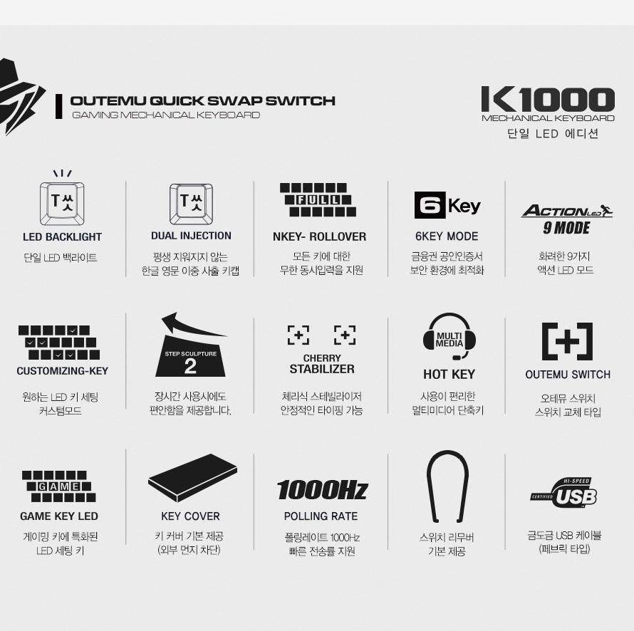 ABKO HACKER K1000 LED 에디션 축교환 게이밍(레드, 청축)