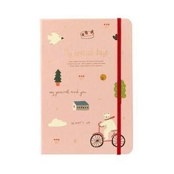아트박스 자전거탄곰돌이 핑크 노트_이미지