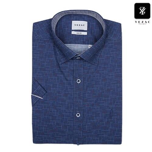 패션그룹형지 예작 네이비 점프사 프린트 슬림핏 반소매 셔츠 YJ8MBS614NY_이미지