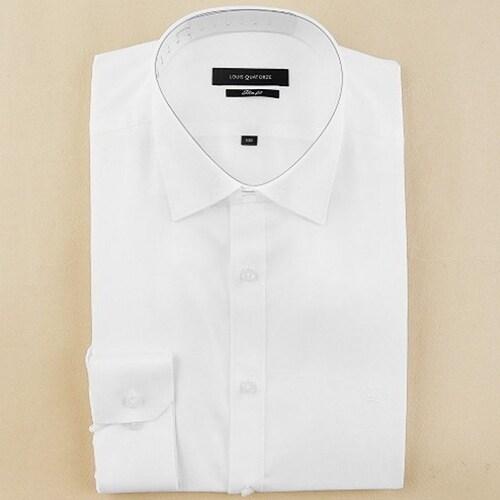 루이까또즈  화이트 솔리드 패턴 슬림핏 셔츠 L33221_이미지