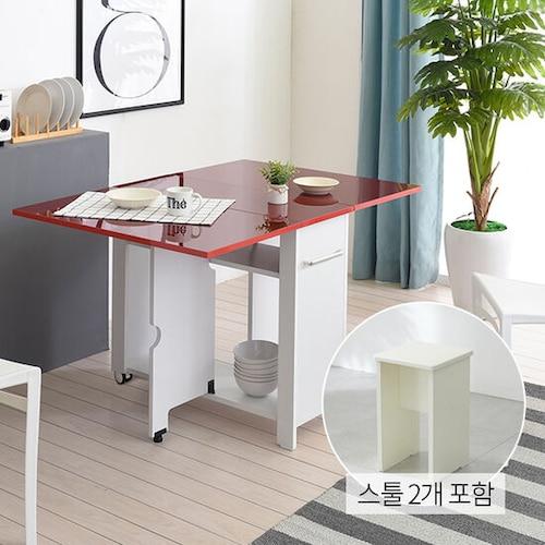 유캐슬 유씨엠 코코레인 하이그로시 접이식 확장형 식탁세트 800 (스툴2개)_이미지