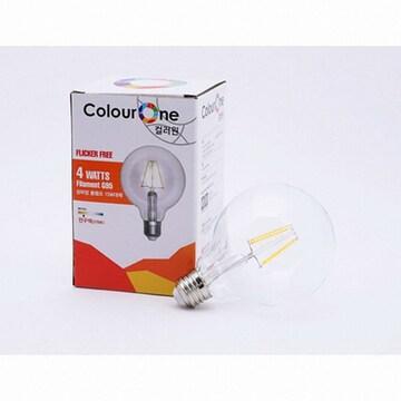 우리조명 장수램프 컬러원 LED G95 필라멘트 에디슨전구 전구색 4W